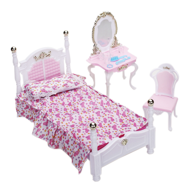 [15008745] Doll Bedroom Furniture Set Dollhouse Accessories for Barbie DOll  sold by MagiToys