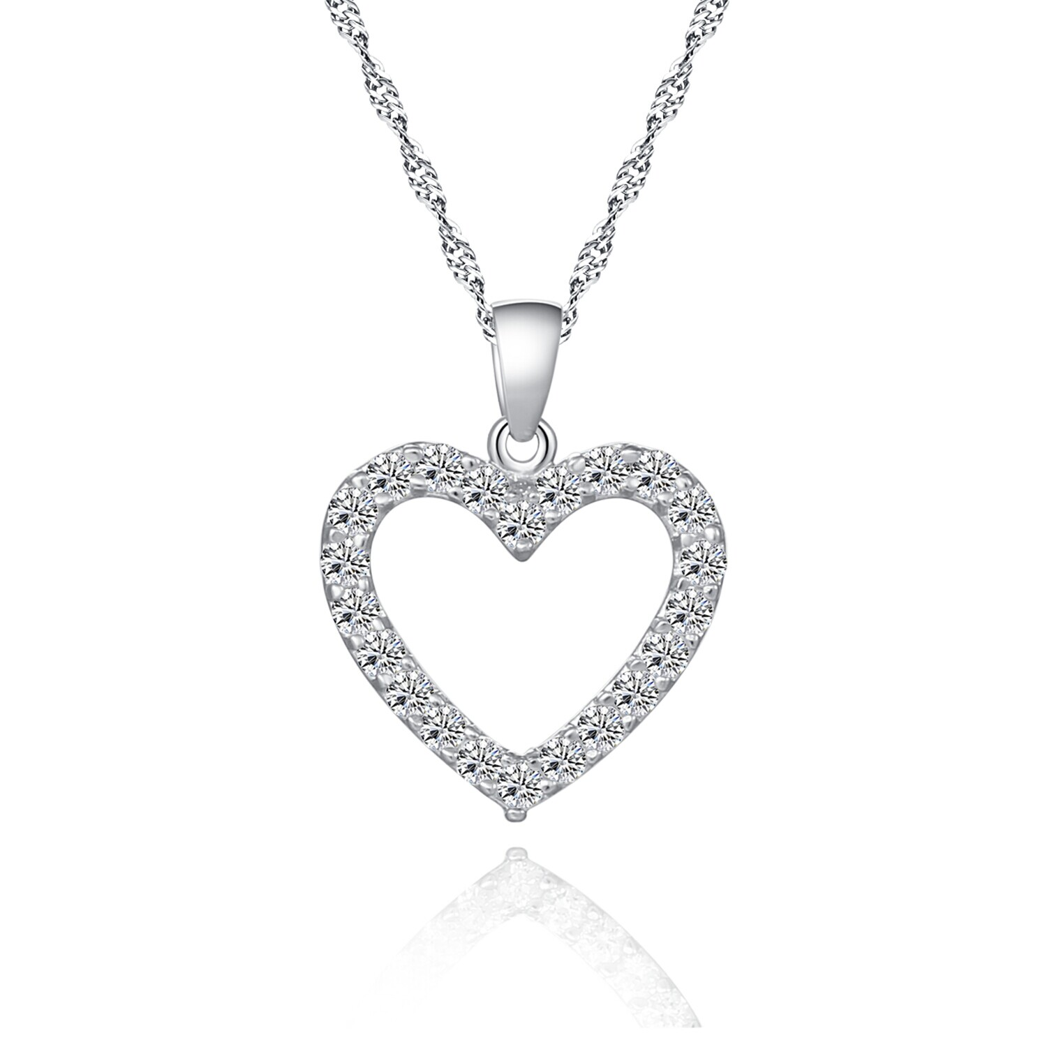 Sterling Silver Diamante Hollow Loving Heart Pendant Necklace