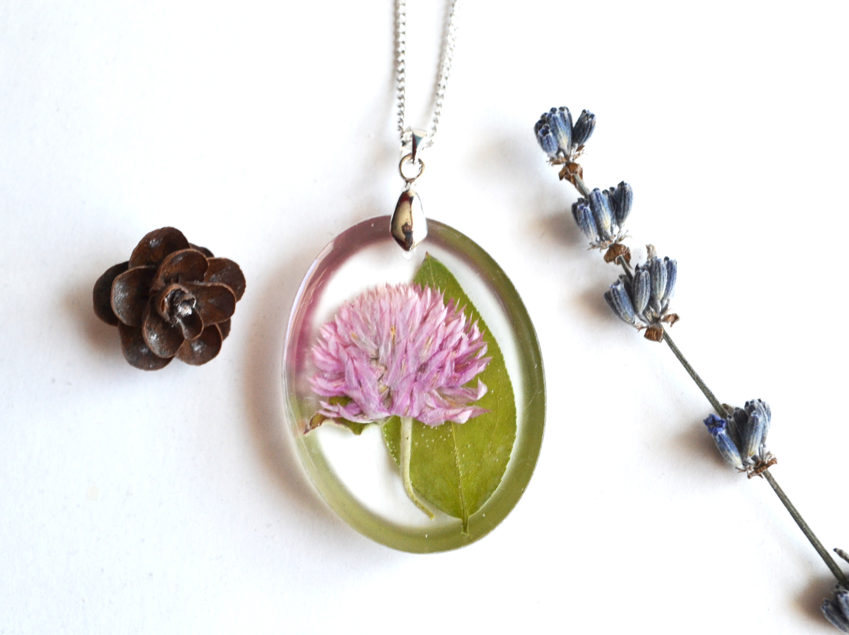 Asa Jewelry Iceland Pink Flower Resin Necklace Oval Original