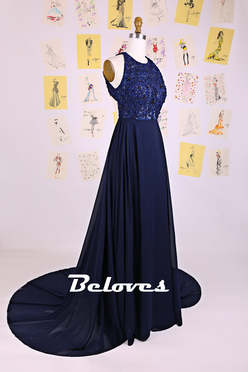 2015 Navy Blue Open Back Evening Gown With Lace Appliques · Beloves ...