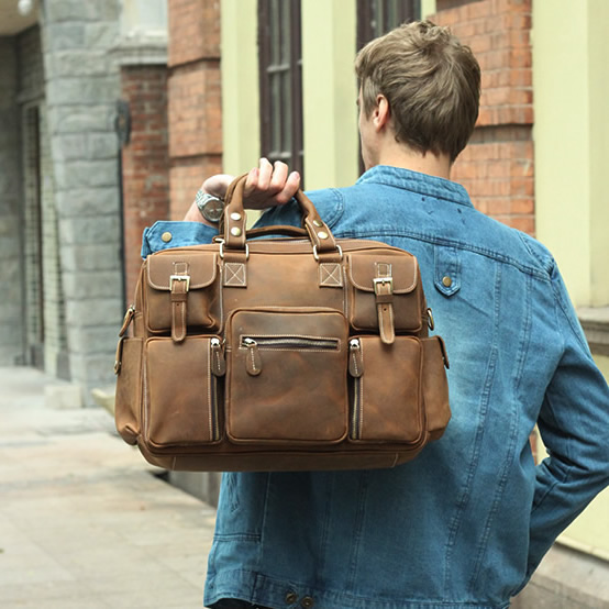 Large Handmade Vintage Leather Travel Bag / Leather Messenger Bag ...