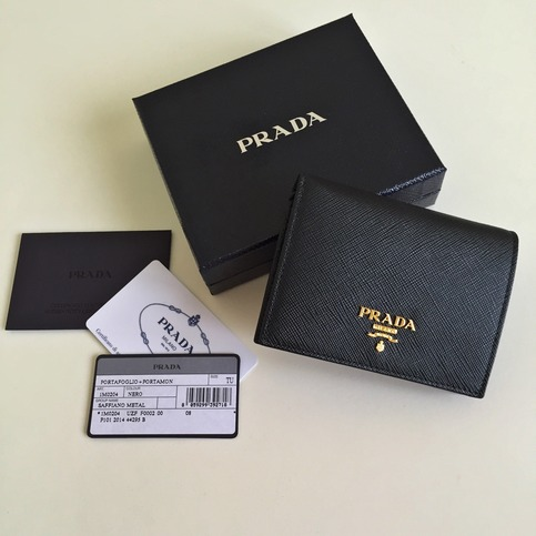 776c36f3f6f1c7 the little green suitcase | PRADA Saffiano Metal Nero Bi-Fold Wallet ...
