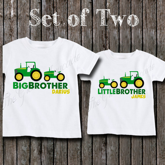 4297a49a Coordinating Sibling Outfits for Boys - Boys Big Brother and Little Brother  Tractor Sibling Shirts -