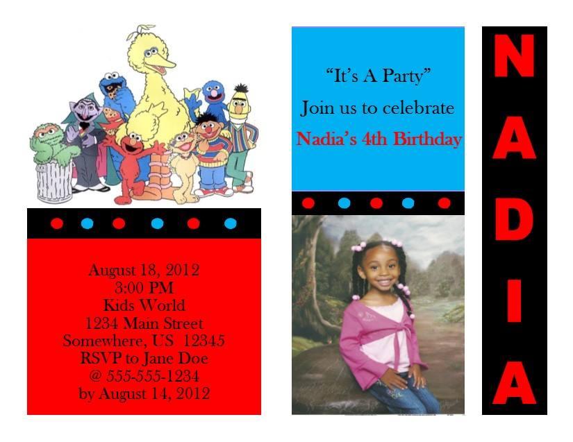 Sesame Street Birthday Invitation 6 Cast