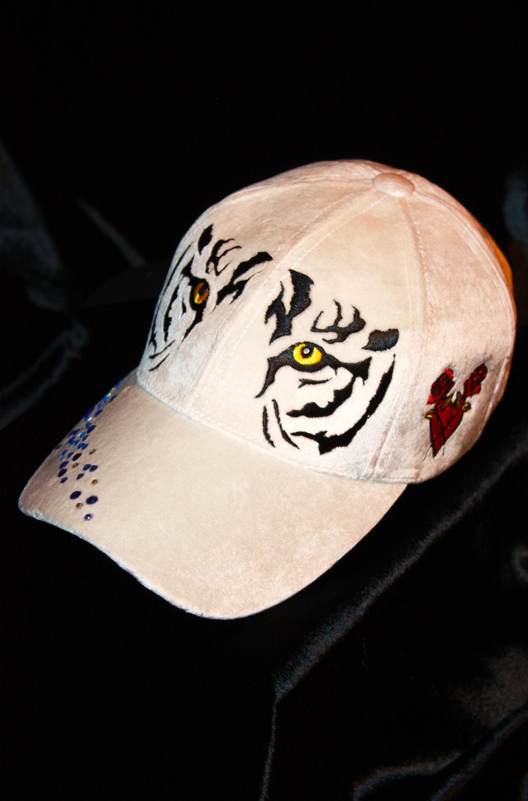 42db2c41c25 White Tiger Women Baseball Cap Silk Velvet Rebel Hat on Storenvy