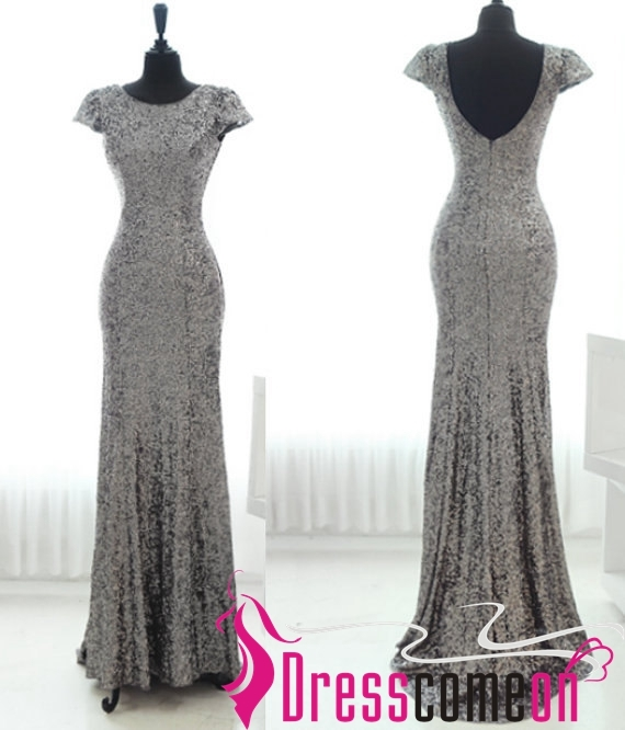 Grey Evening Dresses Sequins Simple With V Back Cap Sleeves Floor