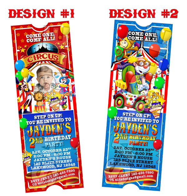 Circus Carnival Birthday Party Photo Ticket Invitations