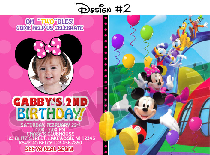 Mickey Mouse Clubhouse Birthday Party Photo Invitations