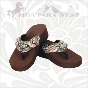 Camo Bling Flip Flops With Flower Concho Sold By Pink Tines