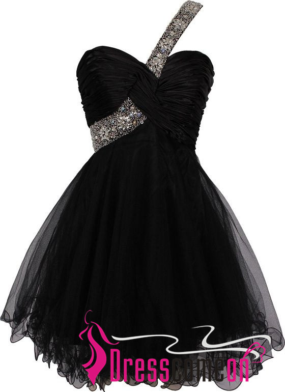 Short One Shoulder Beaded Straps Black Homecoming Dress Formal Gown ...