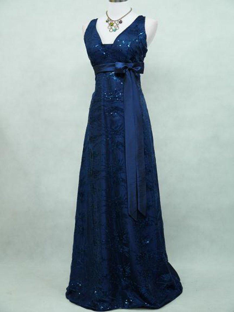 Plus Size Satin Dark Blue Sparkle Bridesmaid MOB Dress from Curvy Brides