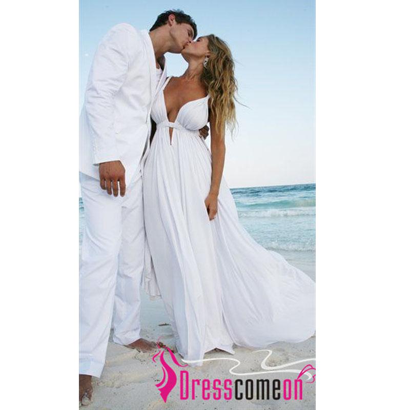 a line deep v neck beach wedding dresses spaghetti straps white