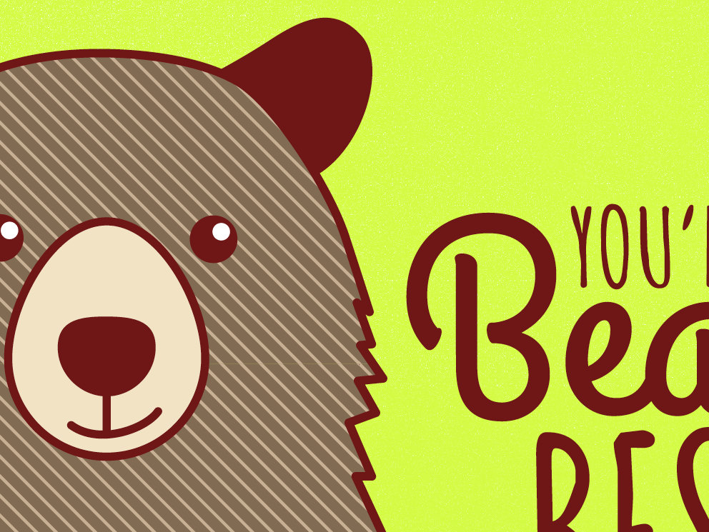 Friendship or Card, You're the Beary Best! - pun card, bear card,