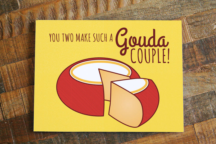 Funny Wedding Card Gouda Couple Cheese Pun Card Wedding Gifts