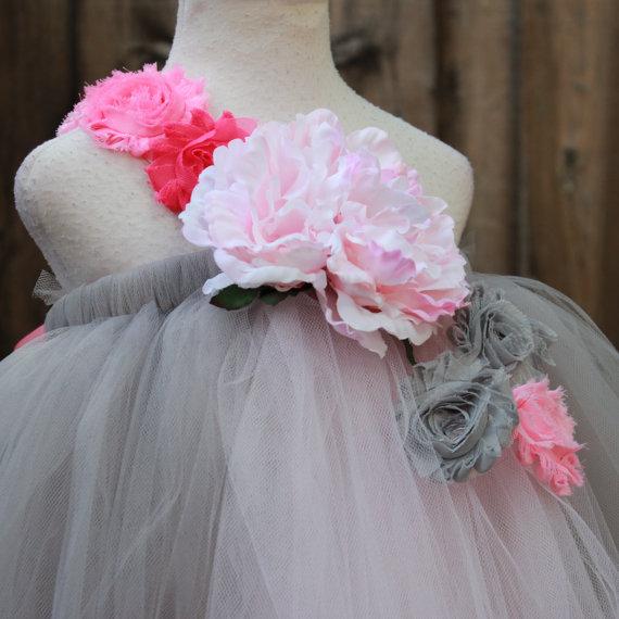 Grey Flower Girl Dress Grey Pink Wedding Custom Made Flower Girl