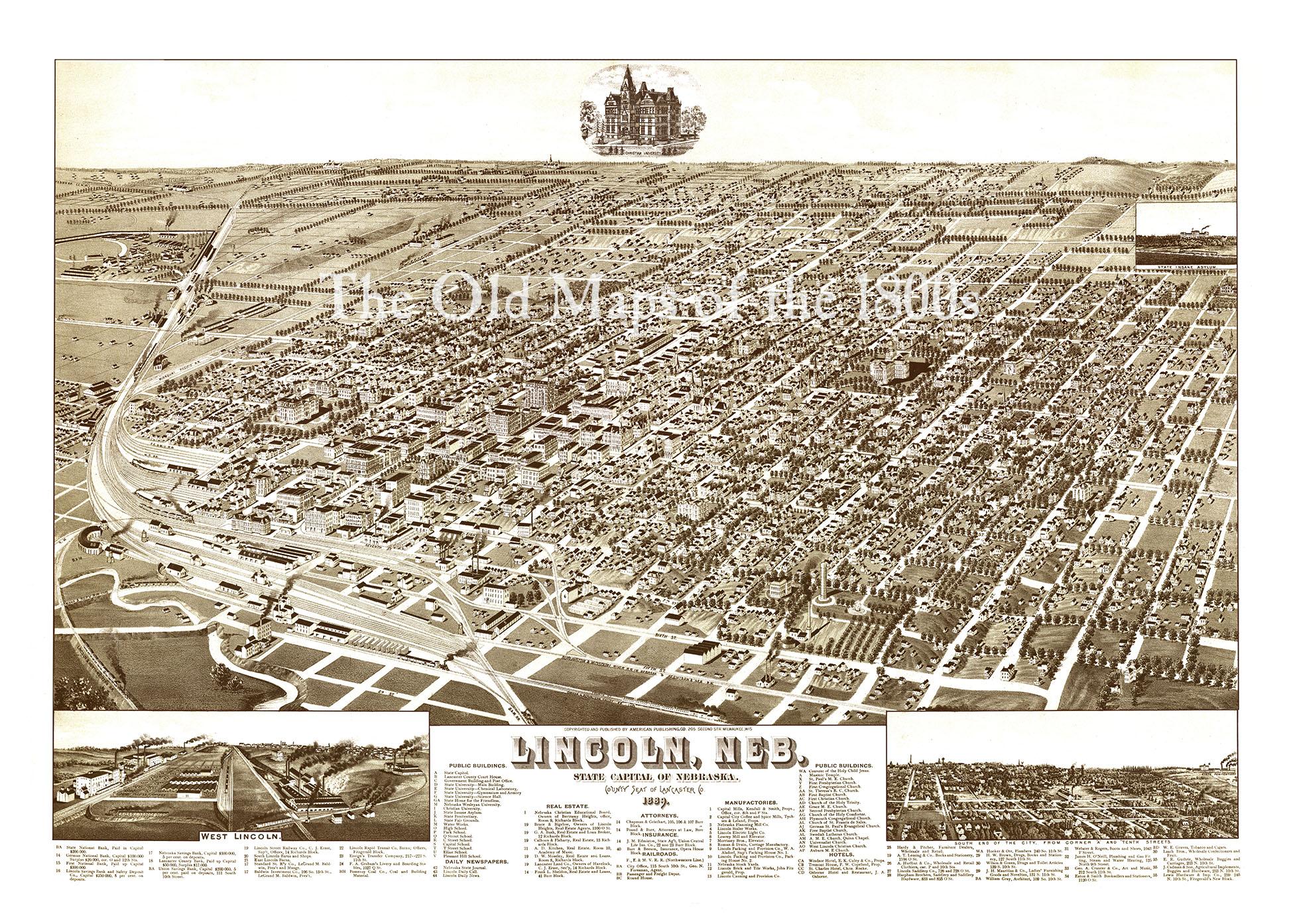 Lincoln, Nebraska in 1889 - Bird\'s Eye View Map, Aerial, Panorama ...