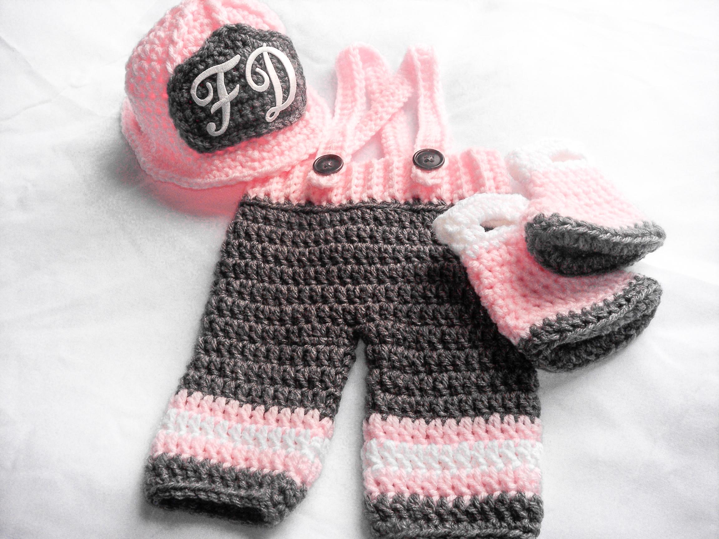 Baby Girl Firefighter Fireman Outfit Crochet Halloween Costume