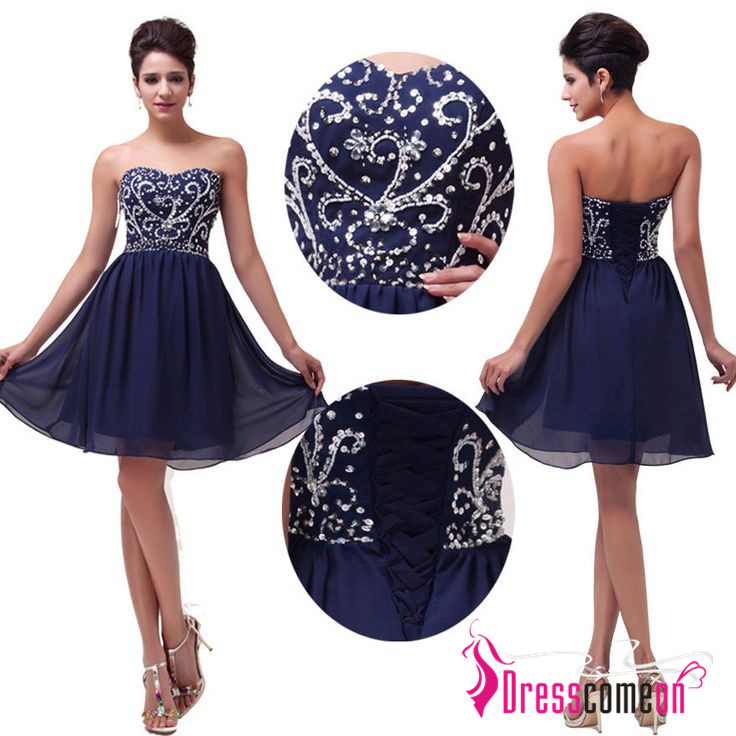 50ef7191ab3 Elegant Navy Blue Cocktail Dress Short Evening Gowns Homecoming Dresses  Beaded Party Sweet 16 Dress