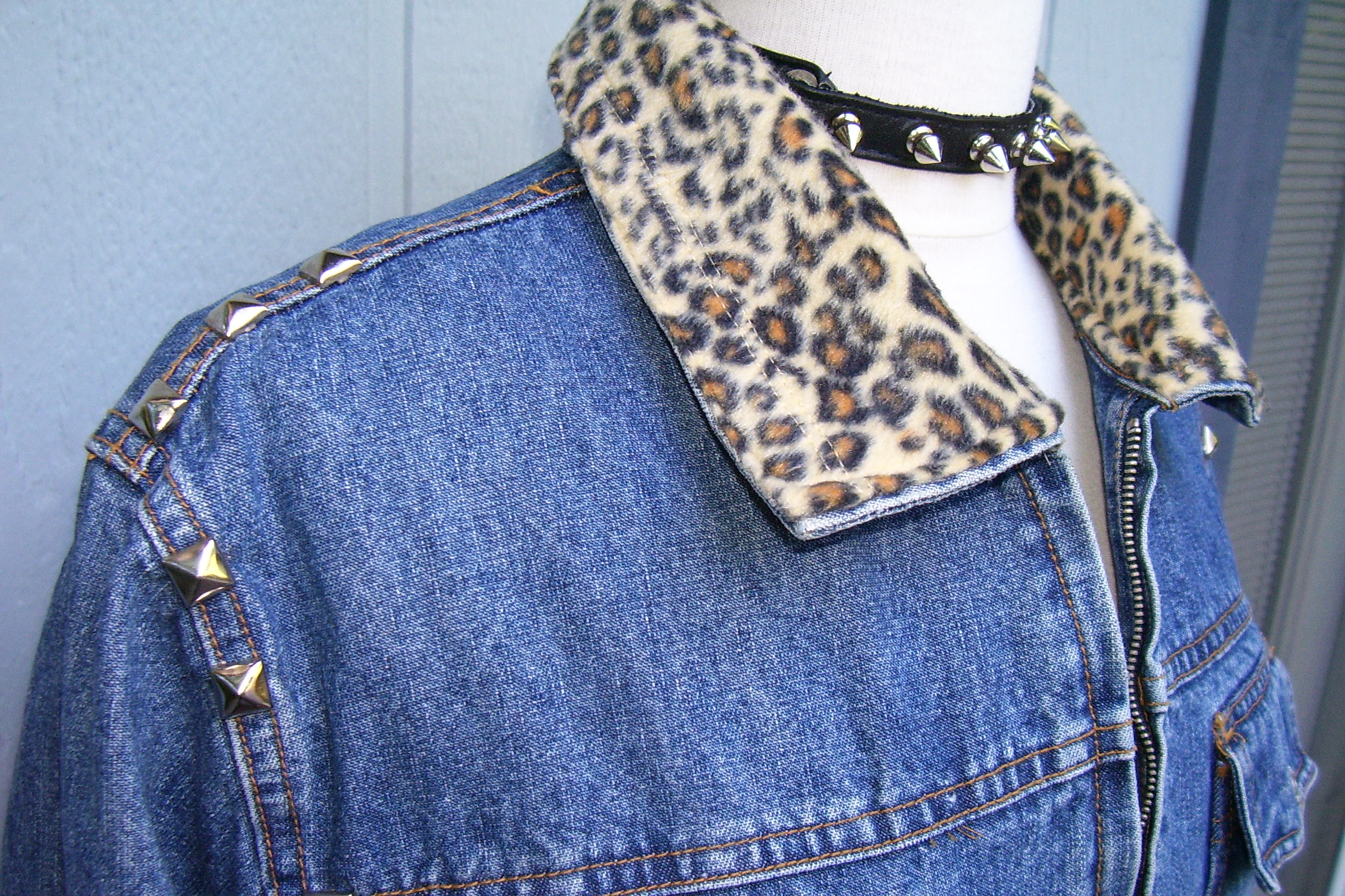 bba9f08d052a2 Denim Jacket with Animal Print Collar and Guitar Graphic on Storenvy