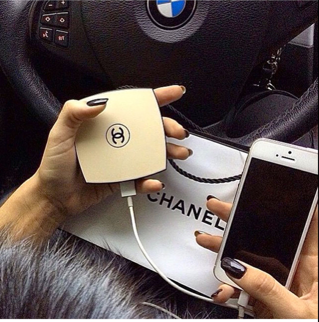 Chanel Portable Compact Mirror Travel Cell Charger Power Bank On Storenvy