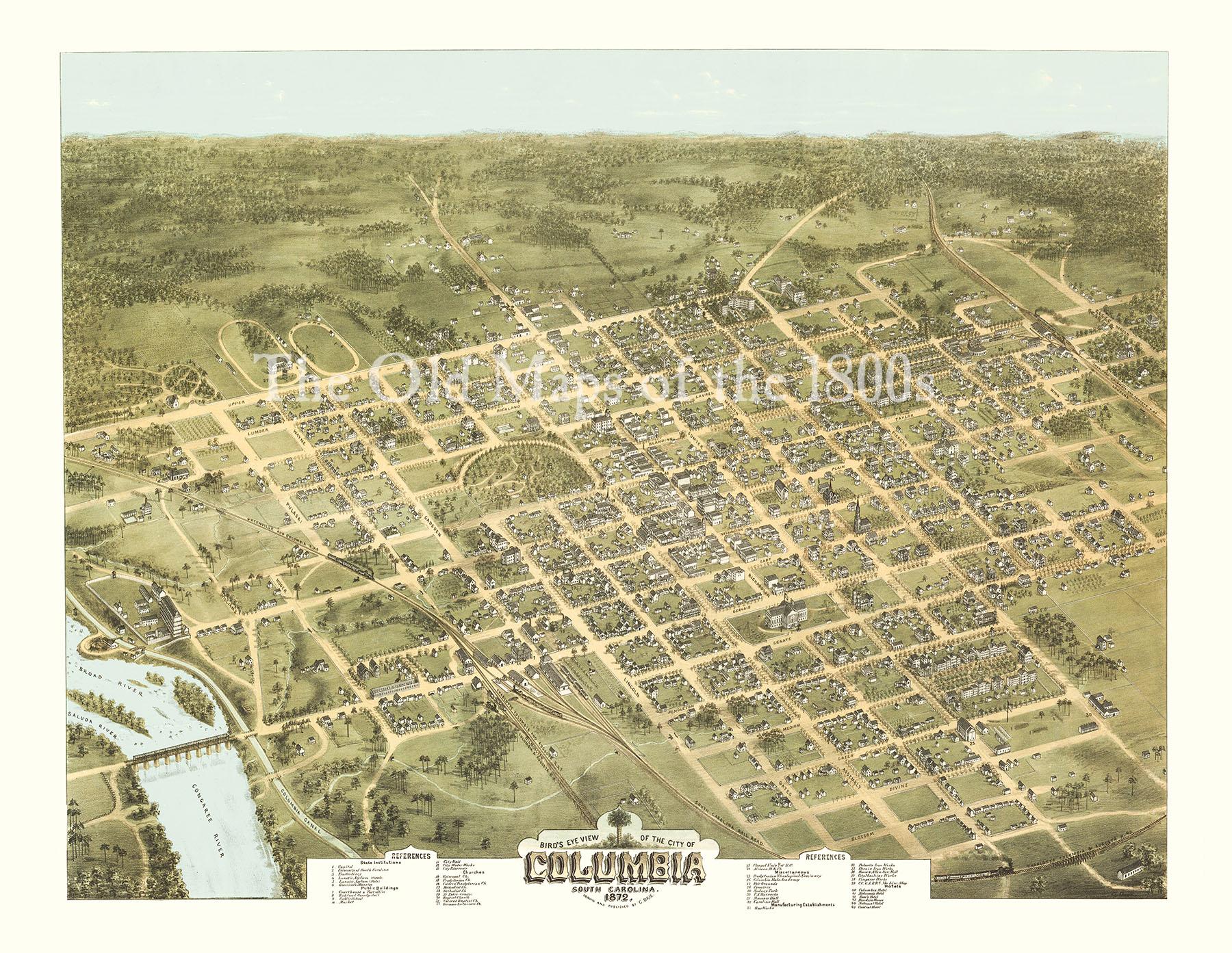 Columbia South Carolina In 1872 Bird S Eye View Map Aerial