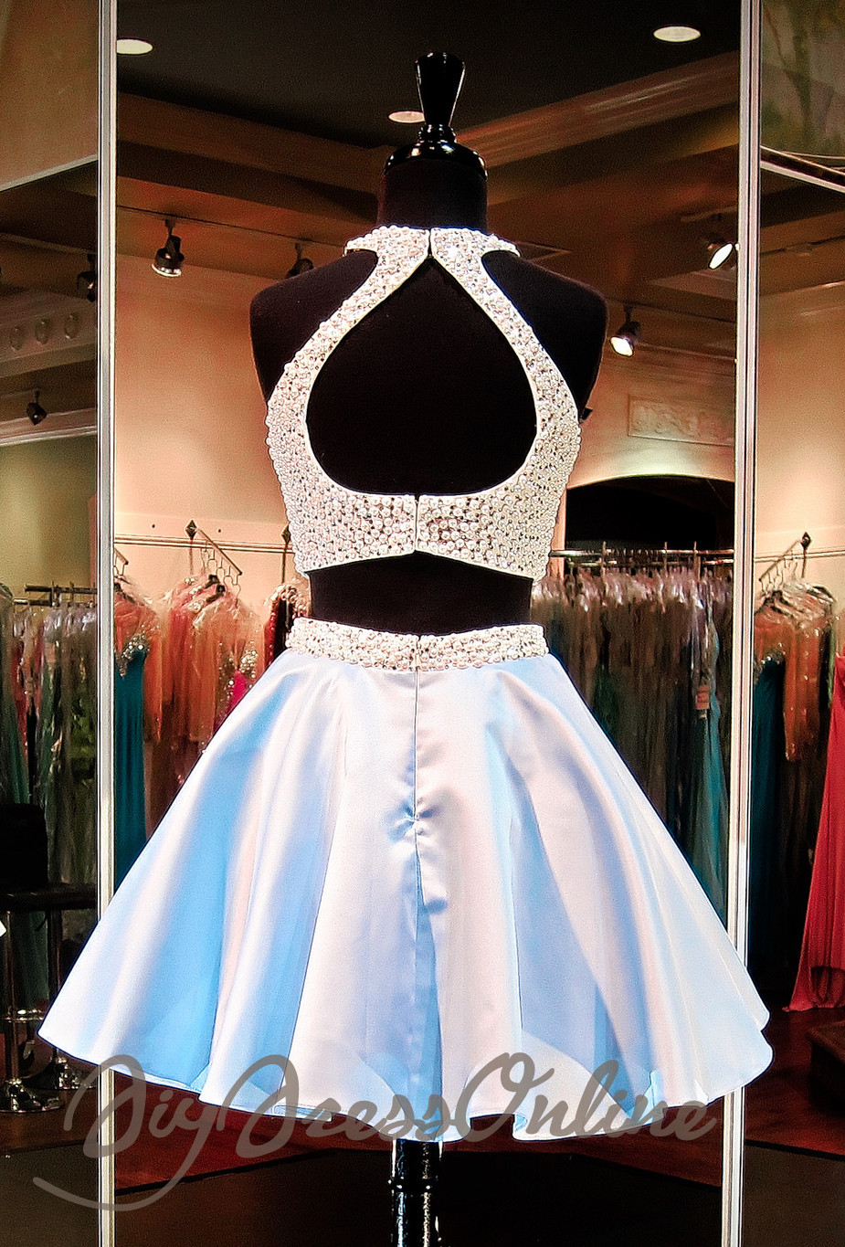 32b842323af ... New Arrival Two Piece Light Blue Homecoming Dress