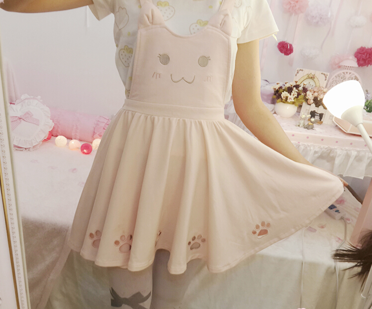 Cat embroidery soft girl strap dress Lolita ear from Harajuku fashion
