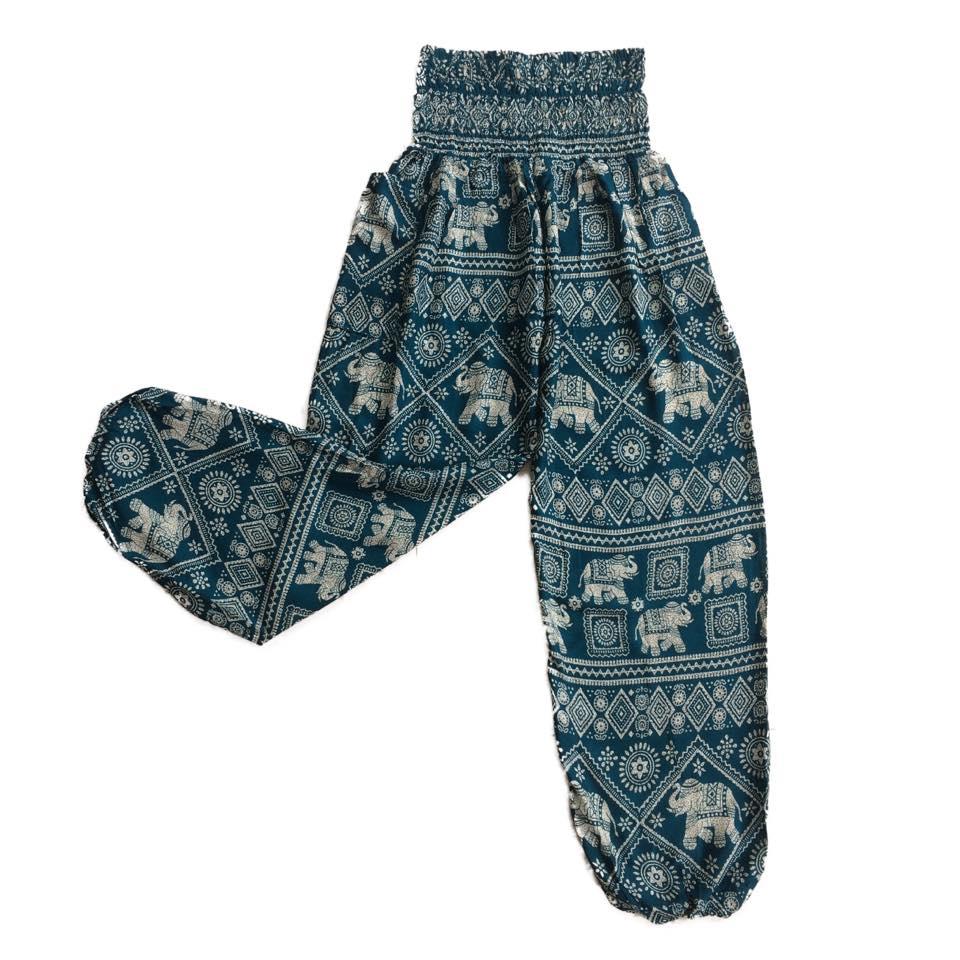 94e4b37131004e ... Teal Square Elephants Print Baggy Harem Hippie Yoga Pants, One Size Harem  Pants/ Boho