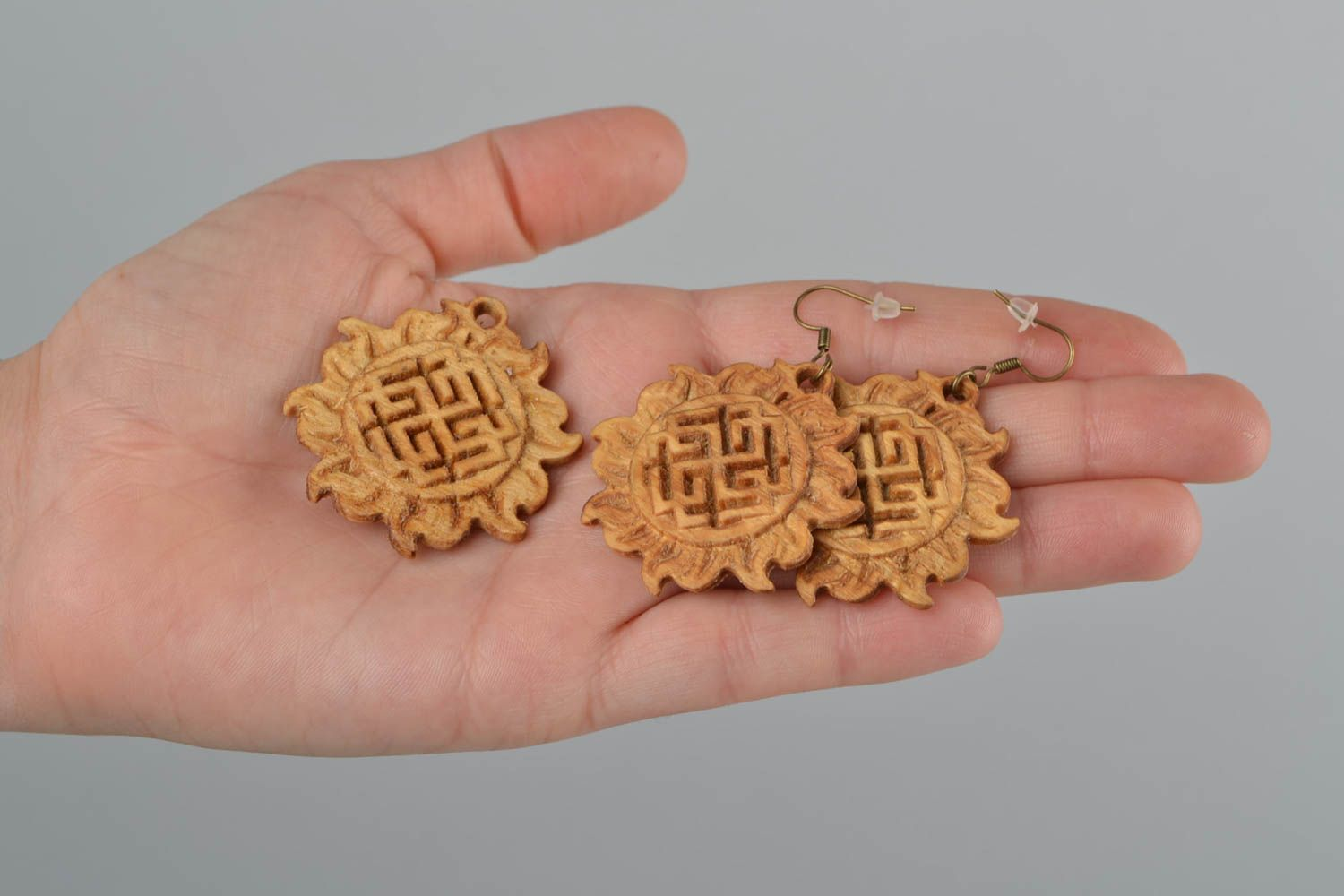 Set of handmade wooden jewelry Slavic protective