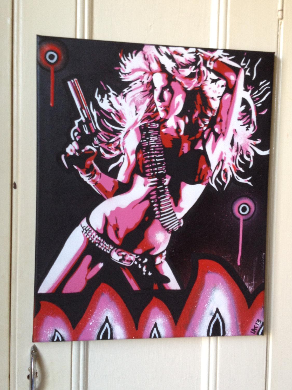 Women with gun canvas painting,stencil art,spray  paints,flames,red,pink,black,white,graffiti,revolver,wall art,urban  art,street art,pop art