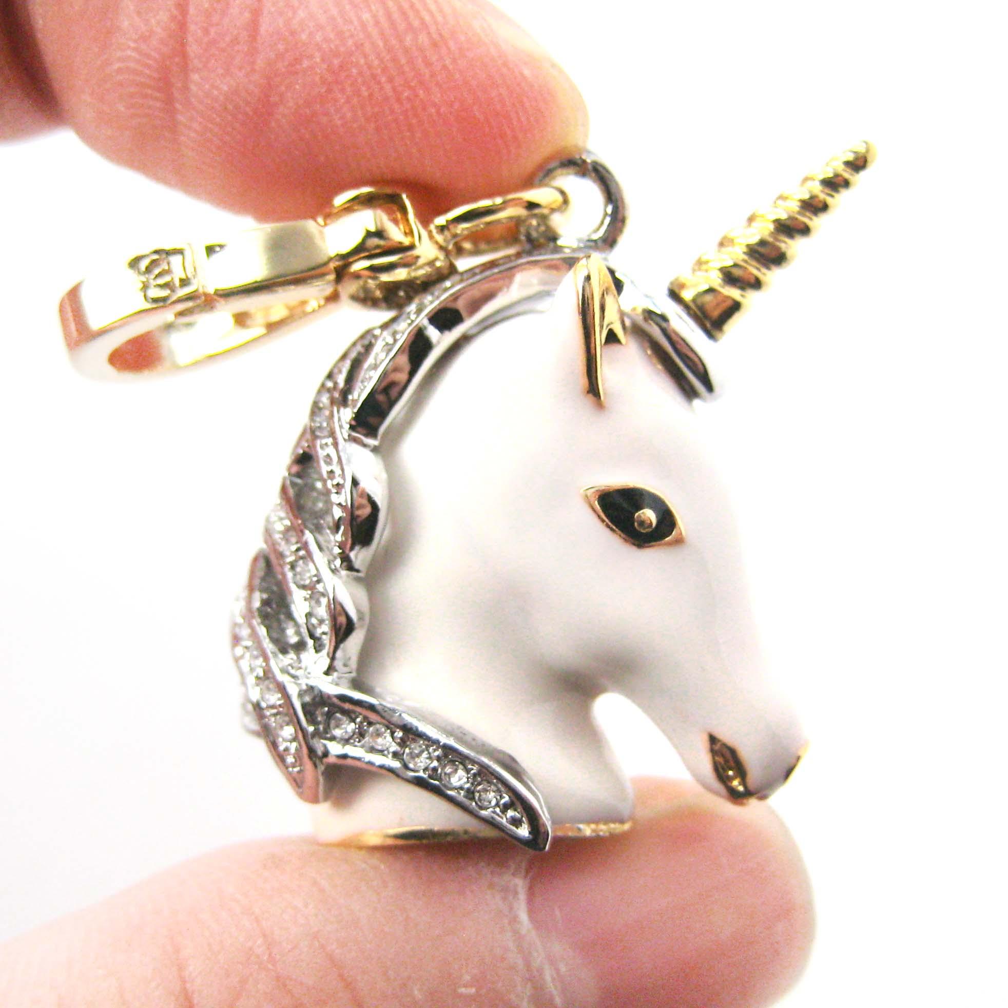 Limited Edition White Unicorn Animal Pendant Necklace