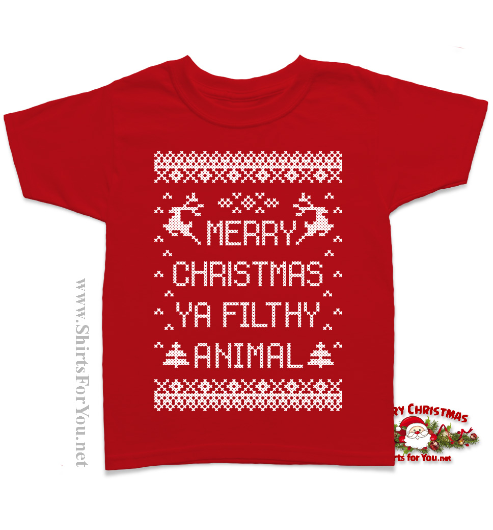 merry 20christmas 20ya 20filthy 20animal 20kids 20shirt 20 20red original - Merry Christmas Ya Filthy Animal