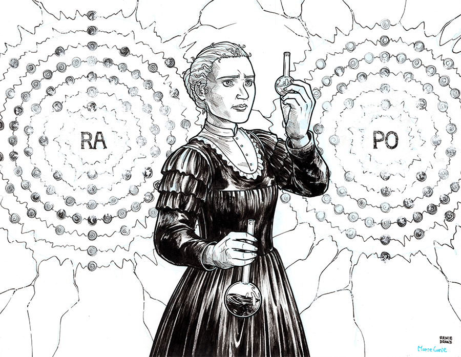 It's just an image of Slobbery Marie Curie Drawing