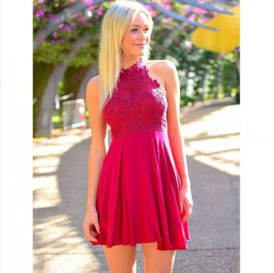 High Neck Hot Pink Lace Chiffon Short Prom Dresses,Bodice Cheap ...