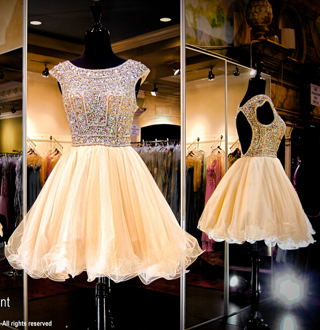 Hot Sales Cap Sleeve Bodice Open Back Champagne Tulle Homecoming ...