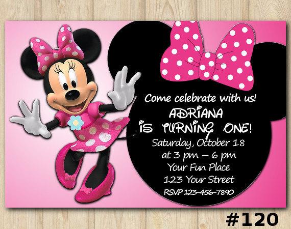 Minnie Mouse Invitation Birthday Custom Printable File Diy 120
