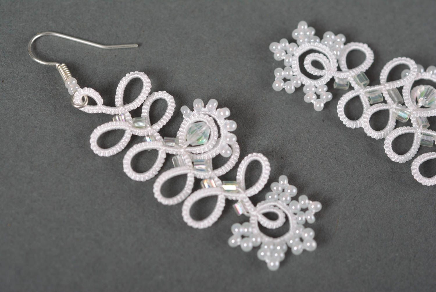 12bf0fb0e19 Handmade earrings beaded jewelry fashion accessories tatting lace gifts for  girl