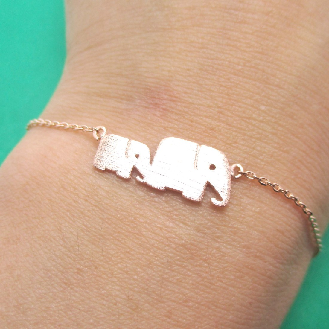 ae8356b7daf1f Classic Elephant Mother and Baby Family Charm Bracelet in Rose Gold from  DOTOLY Animal Jewelry
