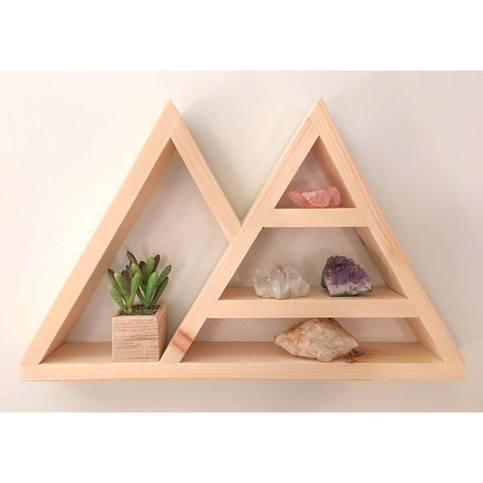 Triangle Shelf Crystal Shelf Shadow Box Wood Shelf Floating Shelf Wall Shelf Double