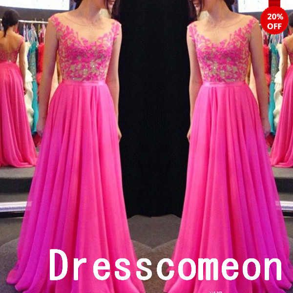 24cd3e850b10 Hot pink unique prom dresses,plum lace chiffon long prom dress,cheap  backless prom