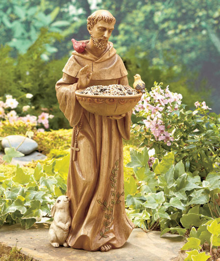 Saint St Francis Of Assisi Ceramic Bird Animal Feeder