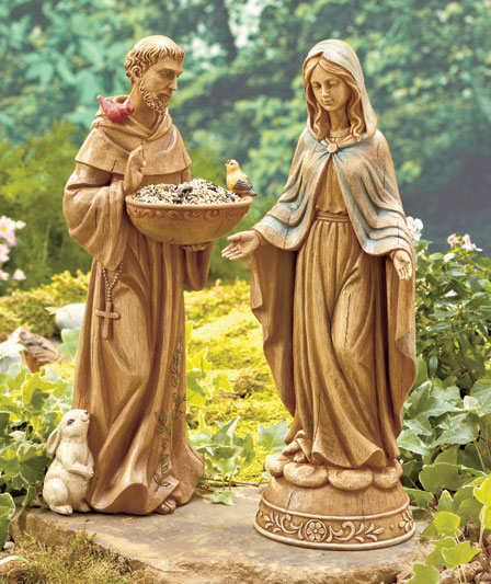 Garden Statue St Francis: Saint St Francis Of Assisi Ceramic Bird Animal Feeder