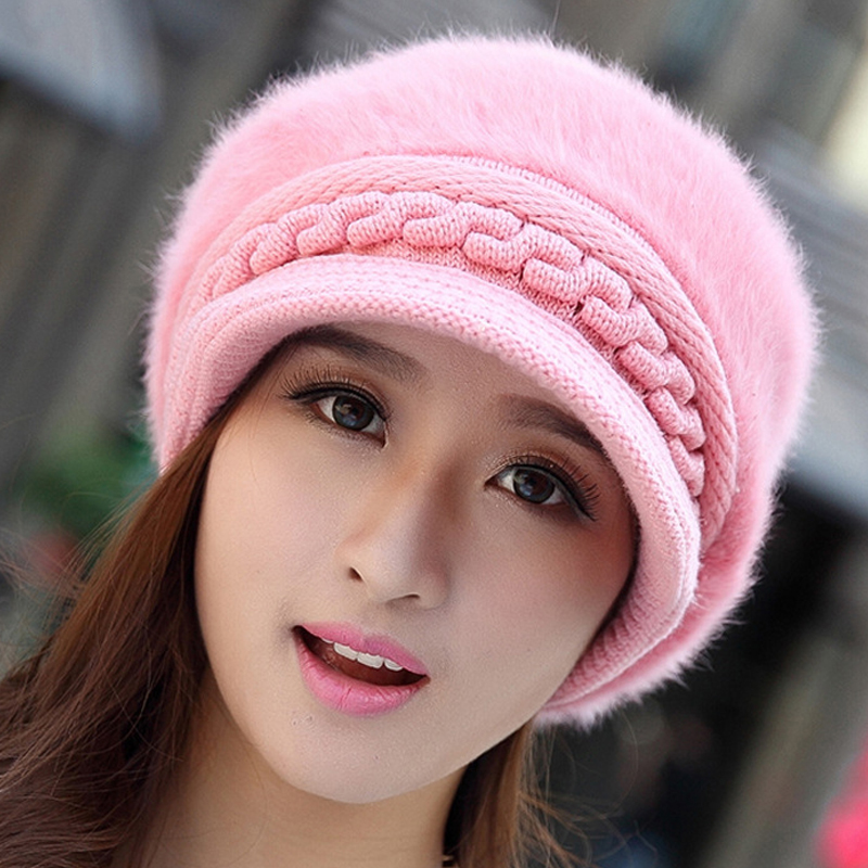 ... Women Girl Rabbit Fur Knitted Screw Beanie Hat Beret Snapback Winter  Soft Cap - Thumbnail 4 211a958cf7