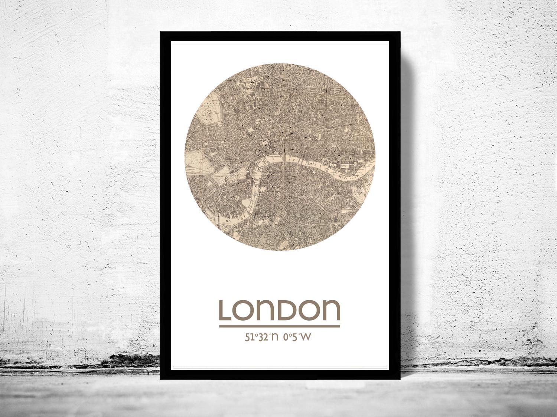 LONDON - city poster - city map poster print on Storenvy
