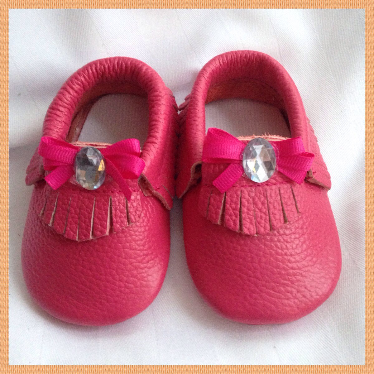 3f2b85a1fb12 Hot Pink Leather Moccasins Popular Trendy Baby Infant Size 0-6 Months Shoes  w