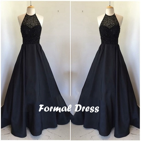 Formal Dress Black Halter Beaded Satin Long Prom Dresses