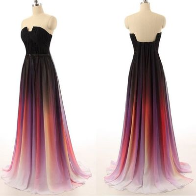 Ombre prom dresses 2019 new simple navy blue gradient chiffon skirt long  bridesmaid dress for teens 2acbbadc4d7d