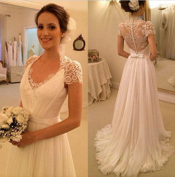 A Line V Neck Cap Sleeve Blush Train Beach Wedding Dress Apd1637 From Diydresses