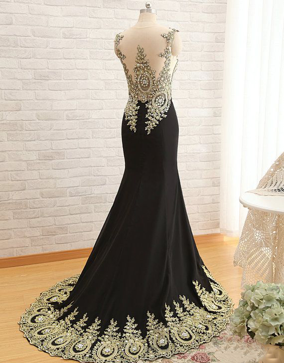 New Arrival Gold Lace Black Prom Dresses Mermaid Prom Dress Crystal