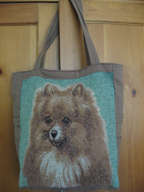 Beautiful Handmade Bags Pomeranian Dog On Tapestry Online
